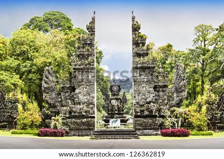 Enrance of Eka Karya Botanic Garden, Bali - stock photo