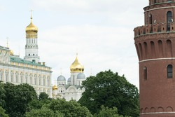 Ensemble of Ivan Great Bell Tower and Archangel Cathedral in Moscow Kremlin.