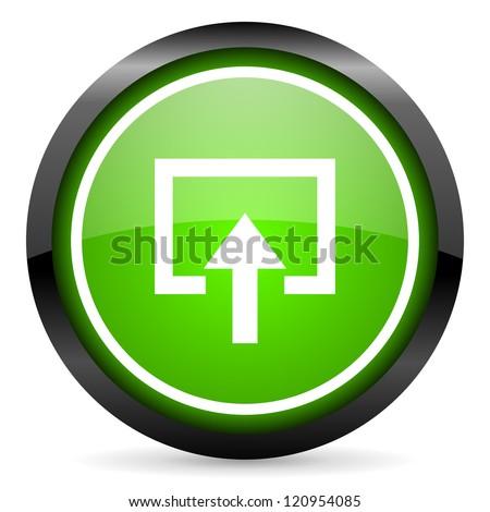 enter green glossy icon on white background