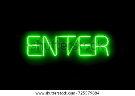 enter neon illuminated sign on...