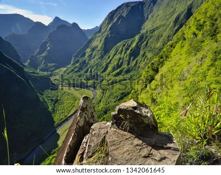 Entering Mafate with epic scenics and wonderful colors. Hiking in Reunion Island is a great experience #1342061645
