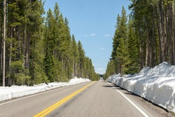 Entering to Yellowstone National Park from the south, with a road surrounded by 1 meter of snow and a line of trees on each side. Wyoming, United Stat