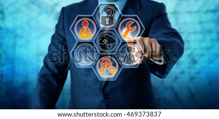 Enterprise client is activating three managed services icons on a virtual control interface with hexagonal buttons. Business and information technology concept for outside IT management. Copy space.