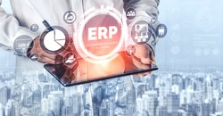 Enterprise Resource Management ERP software system for business resources plan presented in modern graphic interface showing future technology to manage company enterprise resource.
