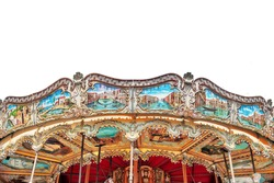 Entertainment Carousel for the youngest children. Isolated over white.