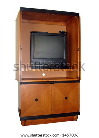 Entertainment Center with TV, Internet Keyboard and Play Station atop TV. Isolated, Clipping Path included.
