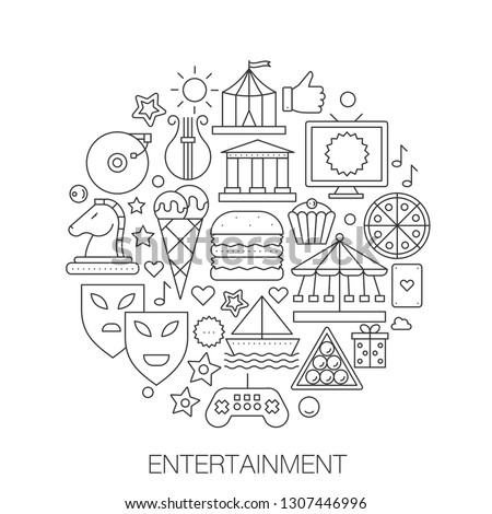 Entertainment in circle - concept line illustration for cover, emblem, badge. Entertainment thin line stroke icons set. #1307446996