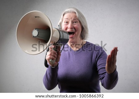 Enthusiast talking in a megaphone