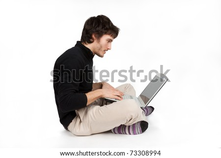 enthusiastic man who works at the computer