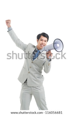 Enthusiastic manager announcing important business news through megaphone
