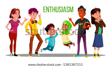 Enthusiastic Multiethnic Students, Adults, Children Characters. Enthusiastic People Of Different Age, Race. Young Male Female Cartoon Teenagers. Arabic, European Kids Together Flat Illustration