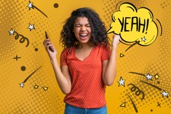 Enthuziastic girl with mobile phone in hands celebrating victory in online casino, hitting jackpot in lotttery, making bets at bookmaker's website. Female blogger happy to get plenty of followers.