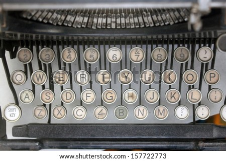 entire keyboard of vintage mechanical typewriter keys