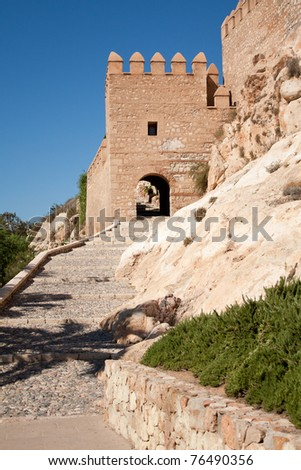 Entrance and exterior walls of the Alcazaba of Almeria, moorish fortress dating from the 10th century.