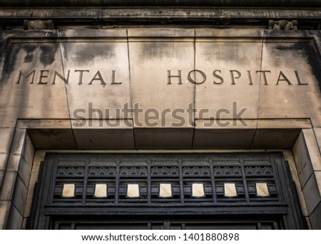 Entrance And Sign For A Scary Victorian Era 'Mental Hospital' (Psychiatric Hospital) Stock photo ©