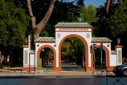 Entrance arch to the historic Prado gardens in Talavera de la Reina, Toledo, Spain