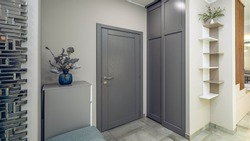Entrance door  and wardrobe in luxury apartment. Modern interior. Grey colors. Decorative flower.