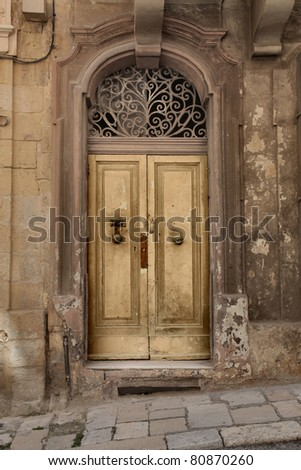 Entrance door of an antique building