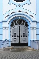 Entrance door of St Elisabeth church in Bratislava, Slovakia