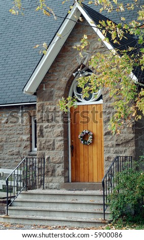 Entrance Door To A Canadian Country Church