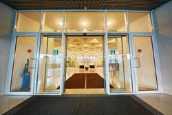 Entrance door to reception hall of office building