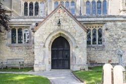 Entrance door to St Marys Parish Church in North Marston, Buckinghamshire