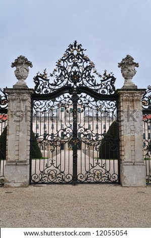 "Entrance gate of the Esterhazy Palace in Fertod. It is a huge complex, known as the ""Hungarian Versailles"", built by Prince Miklos Esterhazy in the middle of the 18th century."