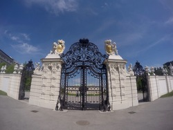 Entrance gate to Belvedere castle with blue sky in a background