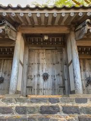 entrance gate to buddhist temple on bukhan mountain in bukhansan national park, gyeonggi, south korea