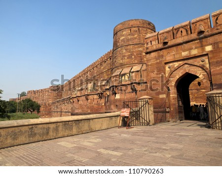 Entrance gate to the famous Agra Fort in Uttar Pradesh, India.