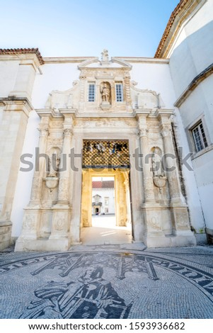 Entrance gate to University of Coimbra - one of the oldest universities in Europe, Portugal