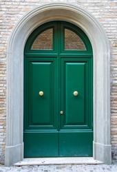 Entrance green door (modern door)