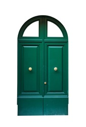 Entrance green door (modern door), isolated on white background