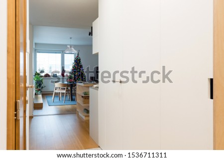 Entrance hall and living room of contemporary apartment #1536711311