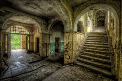 entrance hall of a decayed building