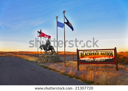 Entrance in reservation well-known Blackfeet Indians