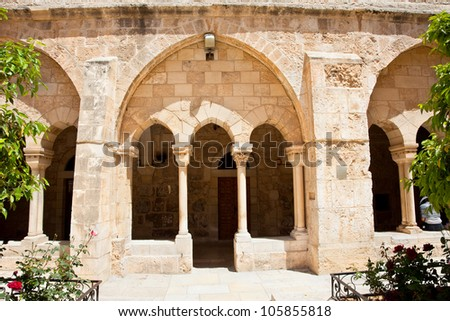Entrance inf the gallery of the Church of Nativity, Bethlehem. Palestine, Israel