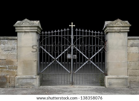 Gate design iron simple gate design wrought iron simple gate design - Entrance Of A Graveyard With A Closed Wrought Iron Gate In