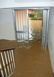 entrance of a House fully flooded during the flooding of the river