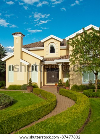 entrance of a house with beautiful outdoor landscape