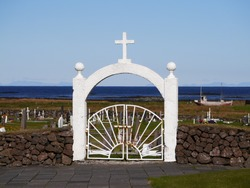 entrance of cemetery at Halvsnes church in Iceland