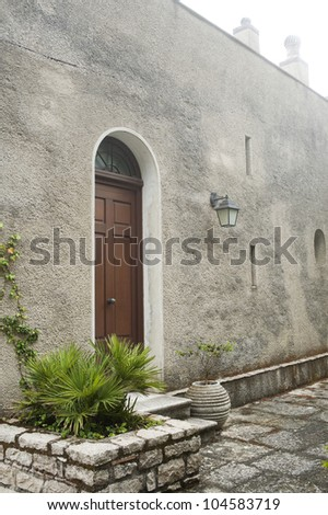 entrance of old house in Erice, Sicily