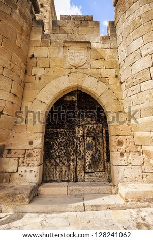 Entrance of Pedraza Castle in Segovia, Castilla y Leon, Spain. Was constructed between the 14th and 16th centuries.
