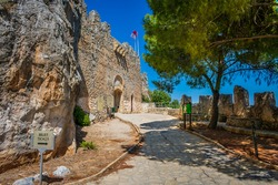 Entrance of Saint Hilarion Castle in Northern Cyprus (Caption on the board means