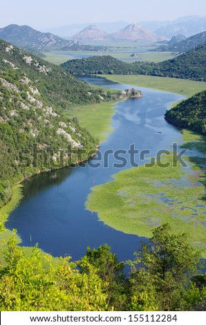 entrance of the Crnojevica River into Lake Skadar National Park, Montenegro
