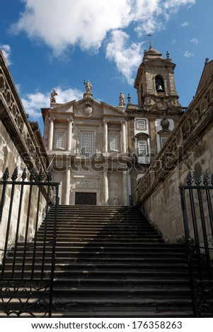 Entrance of  the famous San Francisco church in the center of Porto, Portugal