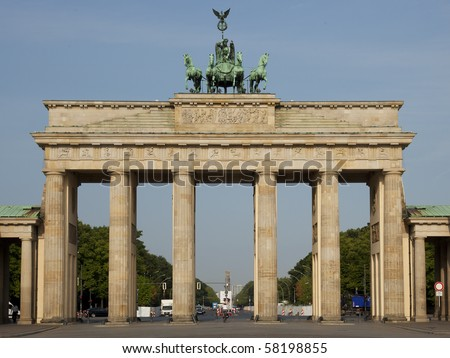 Entrance of the famous street unter den linden in berlin, germany, marked by the brandenburger tor
