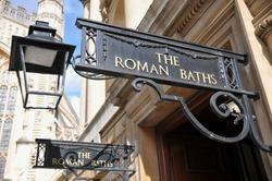 Entrance of the Historic Roman Baths in Bath England