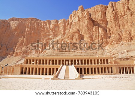 Entrance of the Mortuary Temple of Hatshepsut with cliffs and mountains in the background, Djeser-Djeseru, Deir el Bahari, near the Valley of the Kings, Luxor, Egypt.