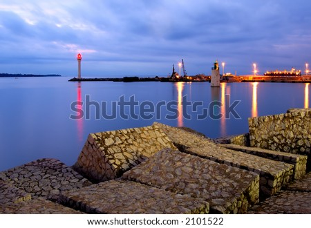 Entrance of the port in Cannes, France - stock photo